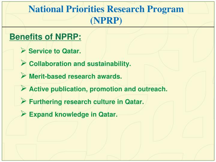 National Priorities Research Program