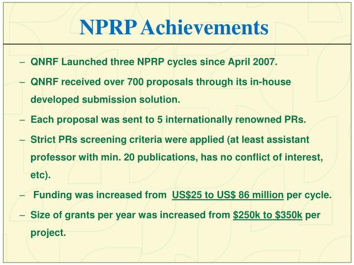 NPRP Achievements