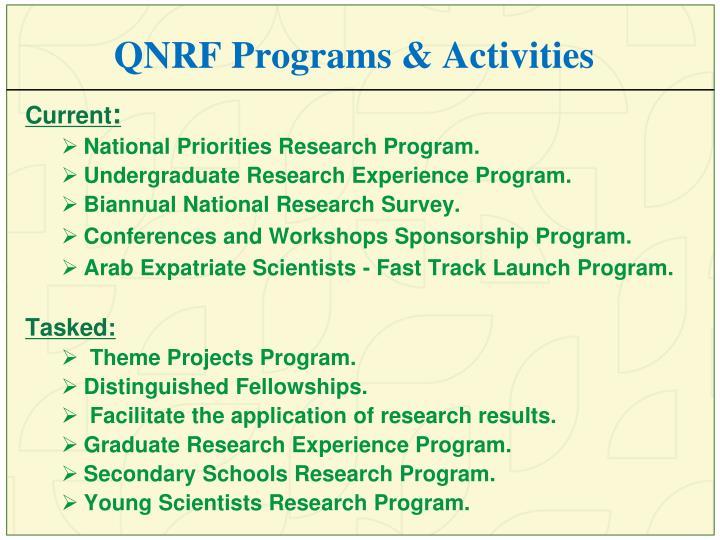 QNRF Programs & Activities