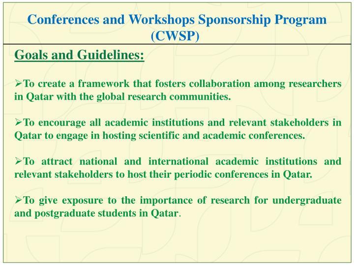 Conferences and Workshops Sponsorship Program