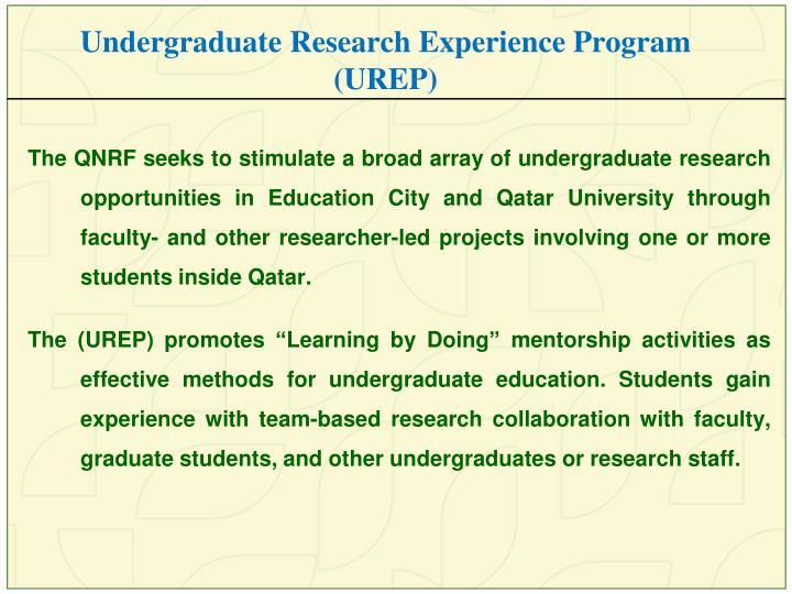 Undergraduate Research Experience Program (UREP)