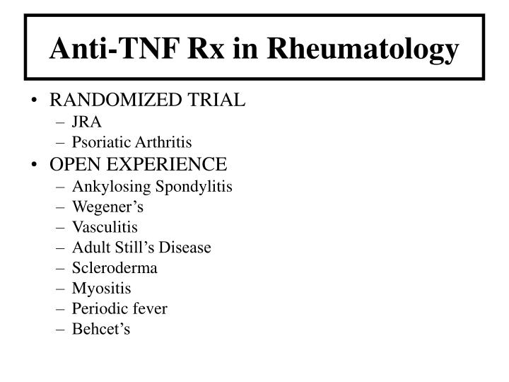 Anti-TNF Rx in Rheumatology