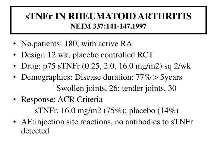 sTNFr IN RHEUMATOID ARTHRITIS