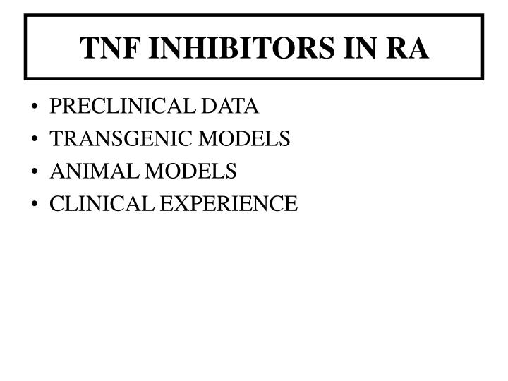TNF INHIBITORS IN RA