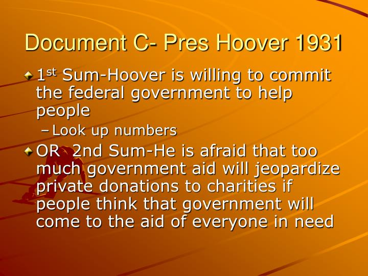 Document C- Pres Hoover 1931