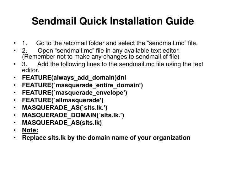 Sendmail quick installation guide