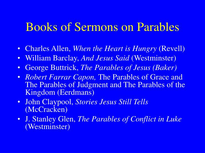 Books of Sermons on Parables