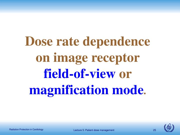 Dose rate dependence on image receptor