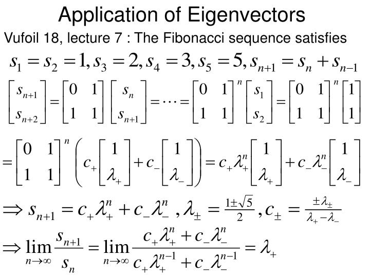 Application of eigenvectors