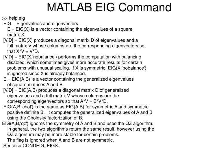 MATLAB EIG Command