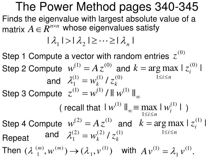 The Power Method pages 340-345