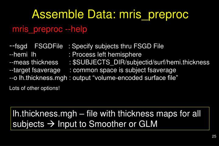 Assemble Data: mris_preproc