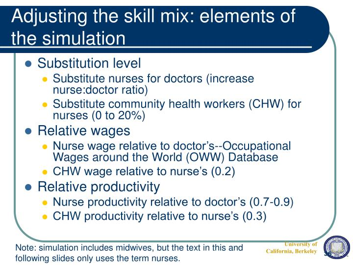 Adjusting the skill mix: elements of the simulation
