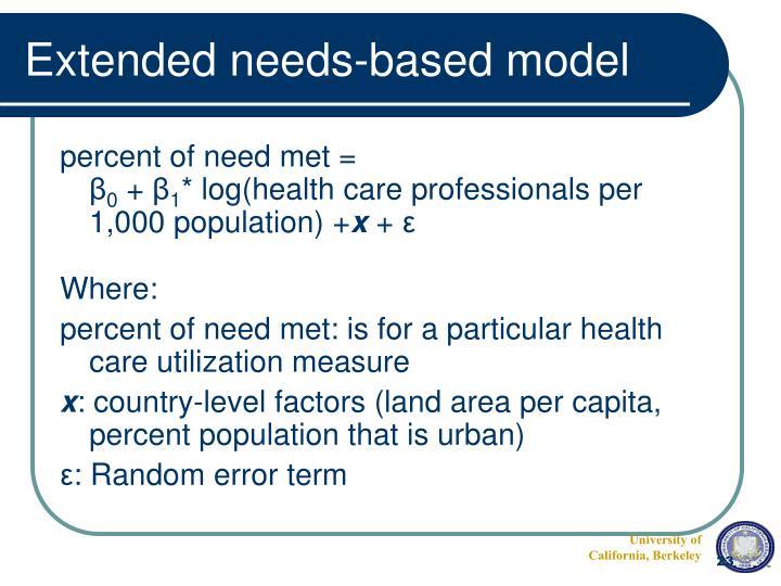 Extended needs-based model