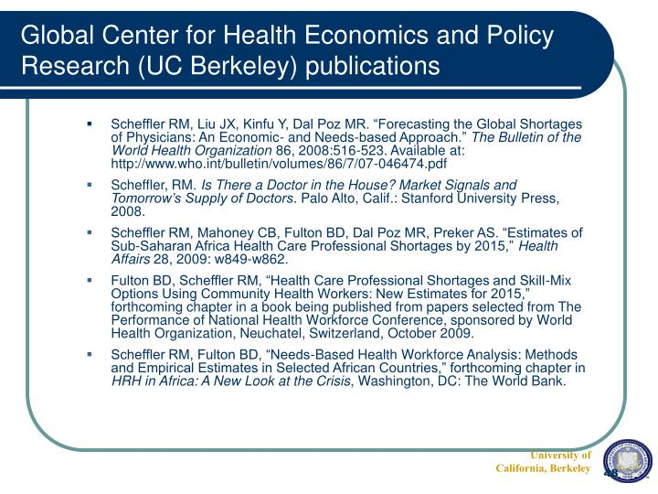 Global Center for Health Economics and Policy Research (UC Berkeley) publications