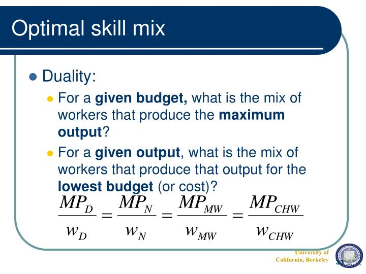 Optimal skill mix