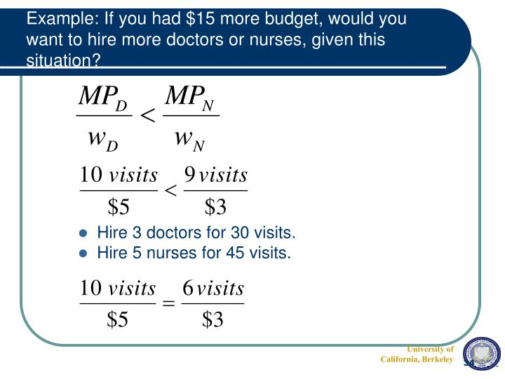 Example: If you had $15 more budget, would you want to hire more doctors or nurses, given this situation?