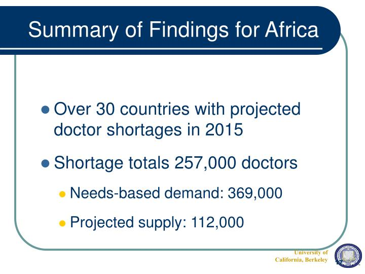 Summary of Findings for Africa