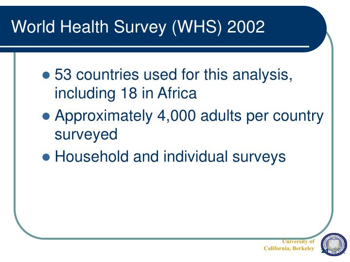 World Health Survey (WHS) 2002