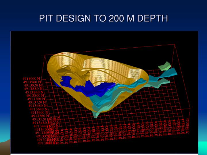 PIT DESIGN TO 200 M DEPTH