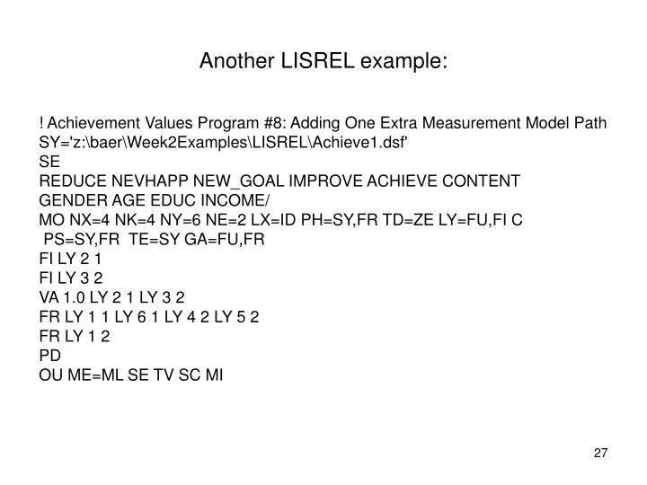 Another LISREL example: