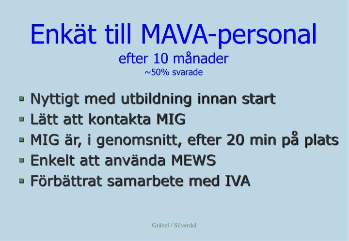 Enkät till MAVA-personal