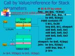 call by value reference for stack parameters