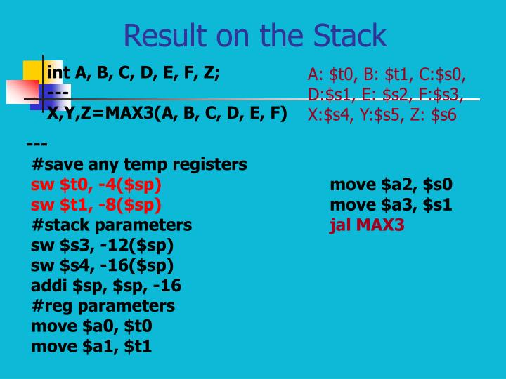 Result on the Stack