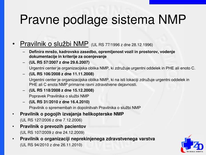 Pravne podlage sistema NMP