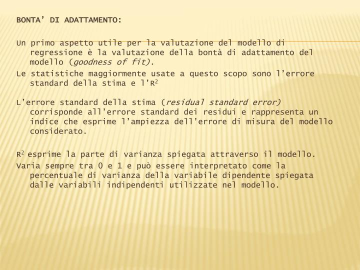 BONTA' DI ADATTAMENTO: