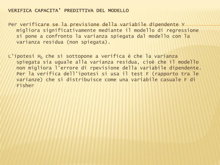 VERIFICA CAPACITA' PREDITTIVA DEL MODELLO