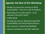 agenda the rest of this workshop