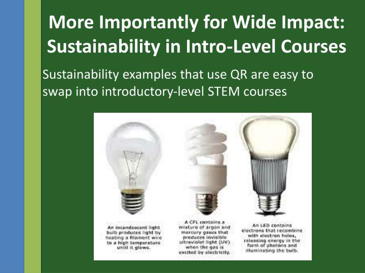 More Importantly for Wide Impact: Sustainability in Intro-Level Courses