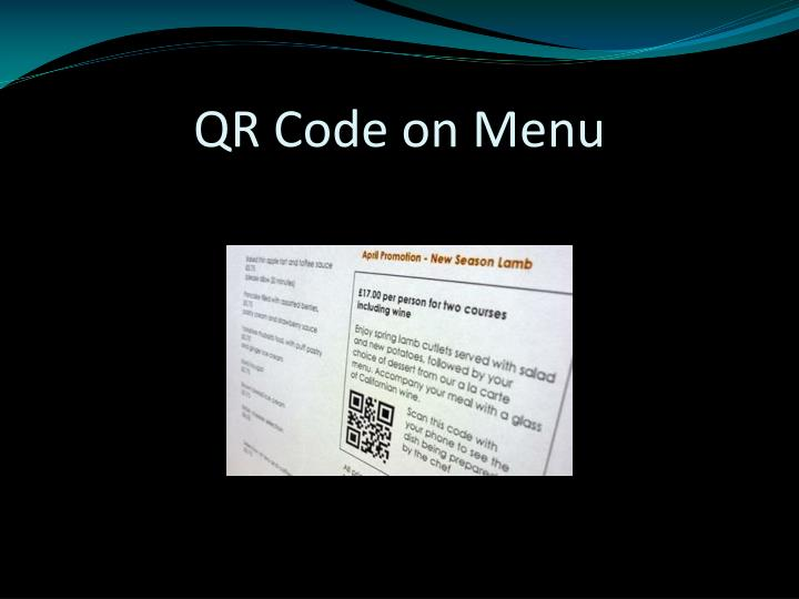 QR Code on Menu