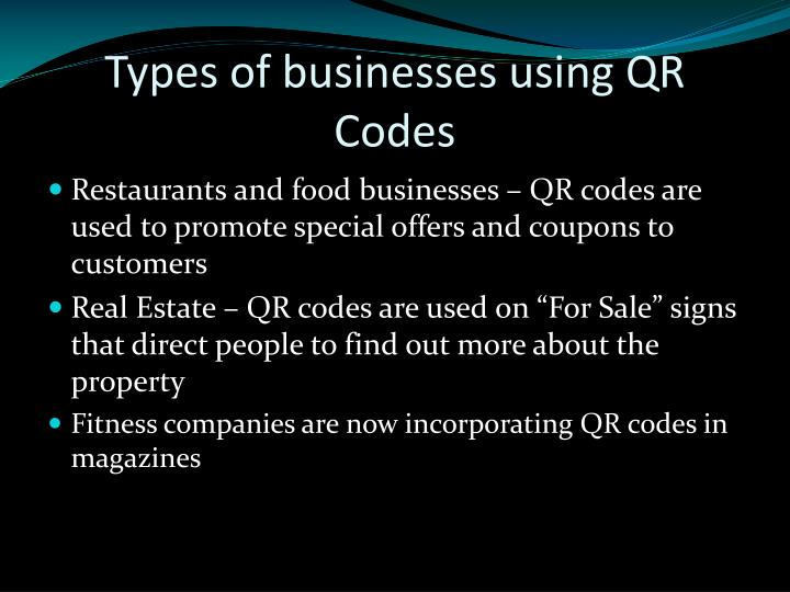 Types of businesses using QR Codes