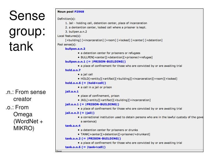 Sense group: tank