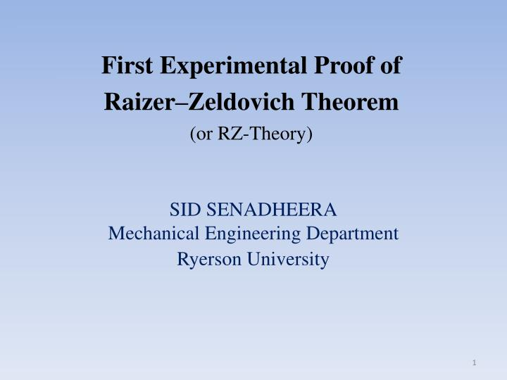 Sid senadheera mechanical engineering department ryerson university