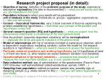 research project proposal in detail