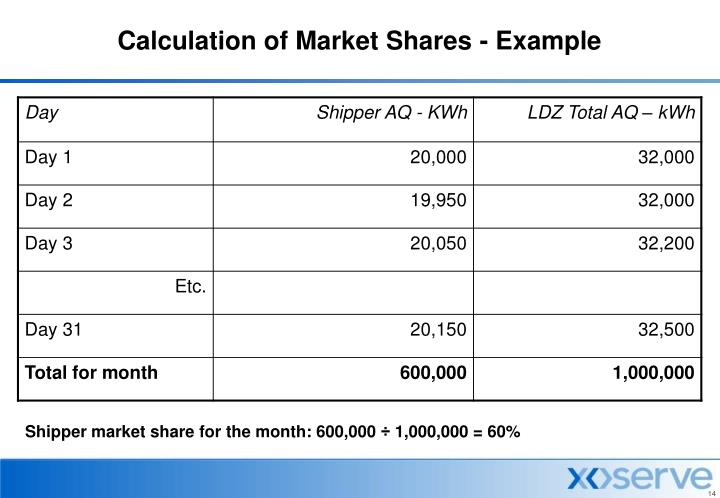 Calculation of Market Shares - Example