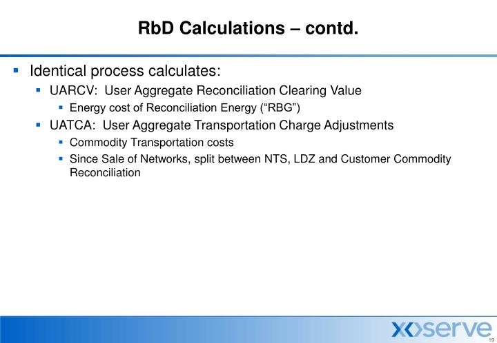 RbD Calculations – contd.