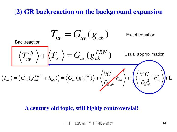 (2) GR backreaction on the background expansion