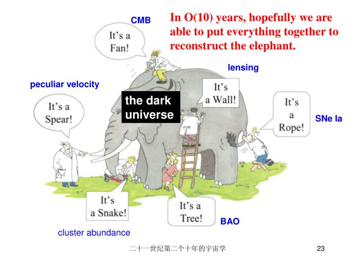 In O(10) years, hopefully we are able to put everything together to reconstruct the elephant.