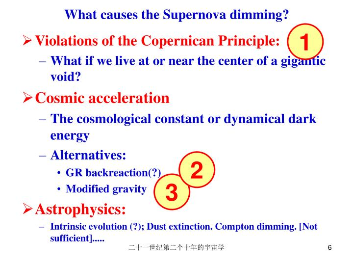 What causes the Supernova dimming?
