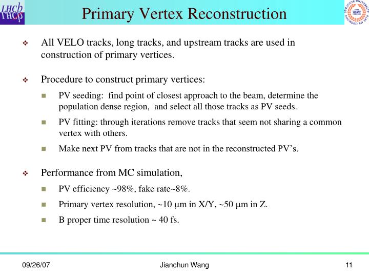 Primary Vertex Reconstruction