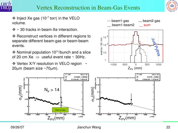 Vertex Reconstruction in Beam-Gas Events