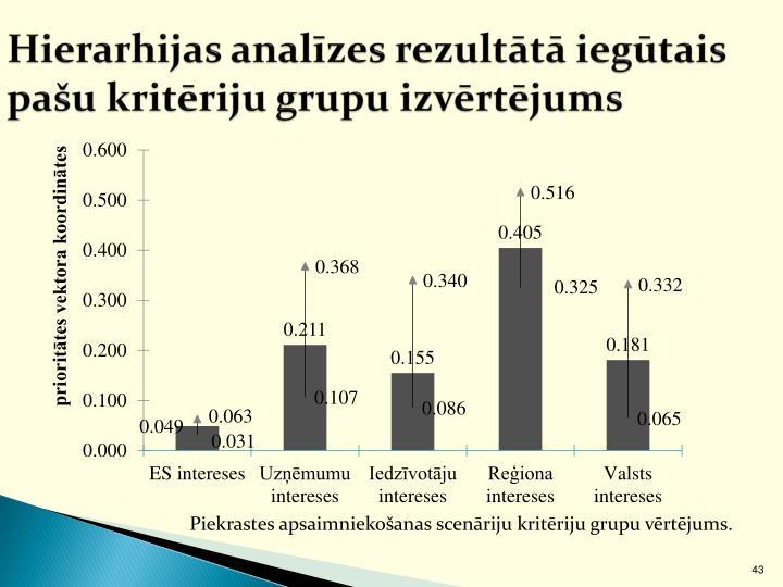Hierarhijas analīzes rezultātā iegūtais pašu kritēriju grupu izvērtējums