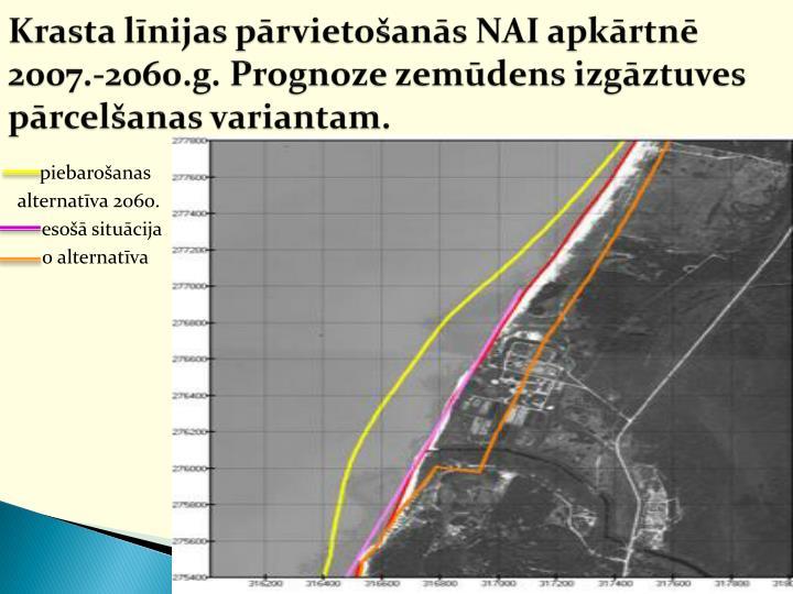Krasta līnijas pārvietošanās NAI apkārtnē 2007.-2060.g. Prognoze zemūdens izgāztuves pārcelšanas variantam.