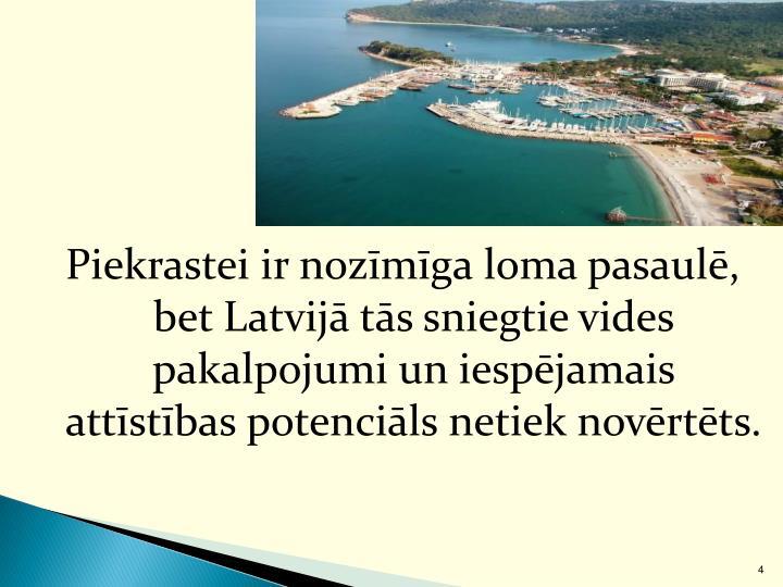 Piekrastei ir nozīmīga loma pasaulē, bet Latvijā tās sniegtie vides pakalpojumi un iespējamais attīstības potenciāls netiek novērtēts