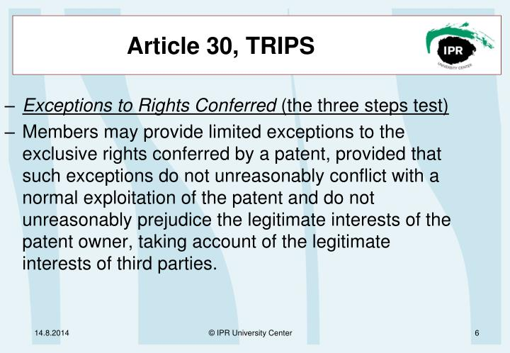 Article 30, TRIPS