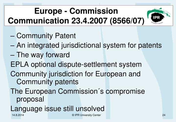 Europe - Commission Communication 23.4.2007 (8566/07)